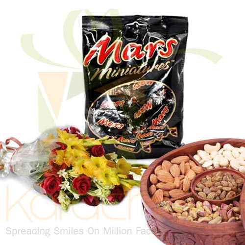 Dry Fruits, Chocolate And Bouquet