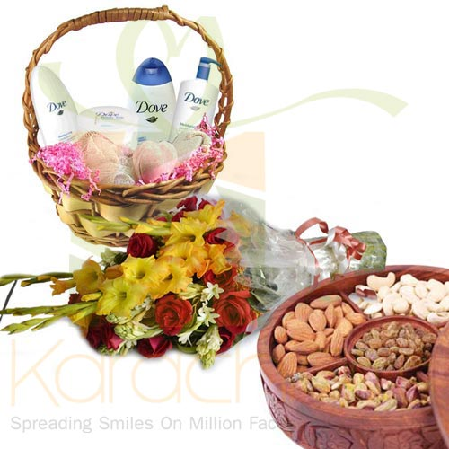 Dove Basket, Flowers And Dry Fruits