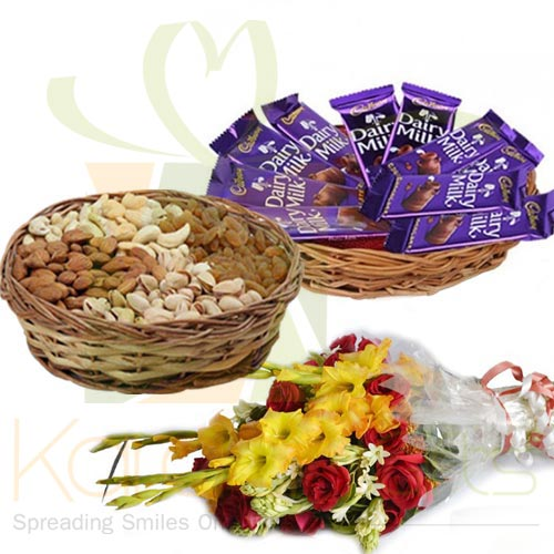 Choco Dry Fruit Basket With Flowers