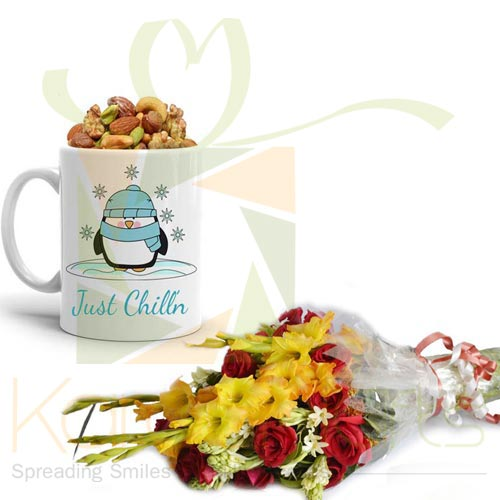 Winter Mug With Bouquet