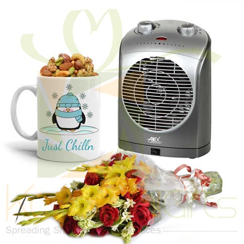 Winter Mug With Bouquet And Heater