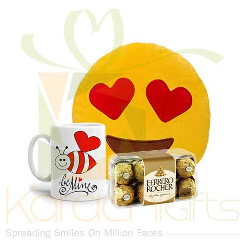 Emoji Cushion, Be Mine Mug And Ferrero