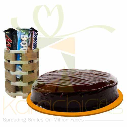 Wooden Choc Bucket With Cake