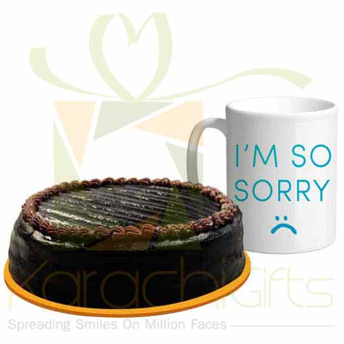 Sorry Mug With Chocolate Cake