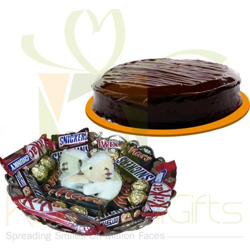 Teddy Choco Tray With Cake