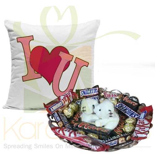 Teddy Choco Tray With Love Cushion