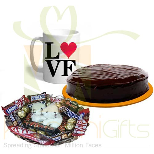Teddy Choco Tray With Cake And Mug