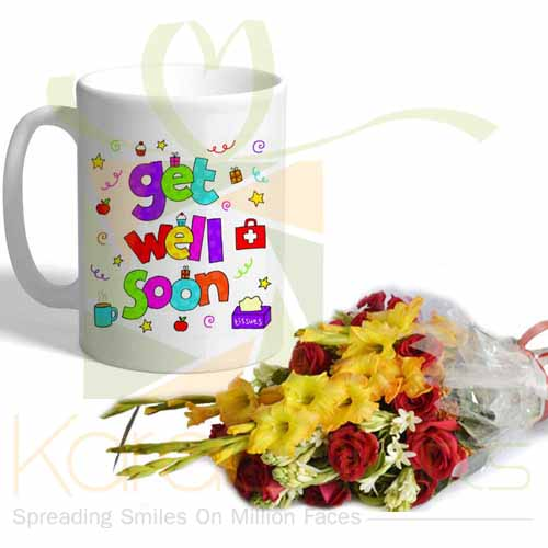Flowers With Get Well Soon Mug