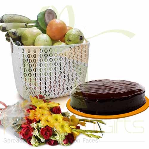 Fruits Cake And Flowers