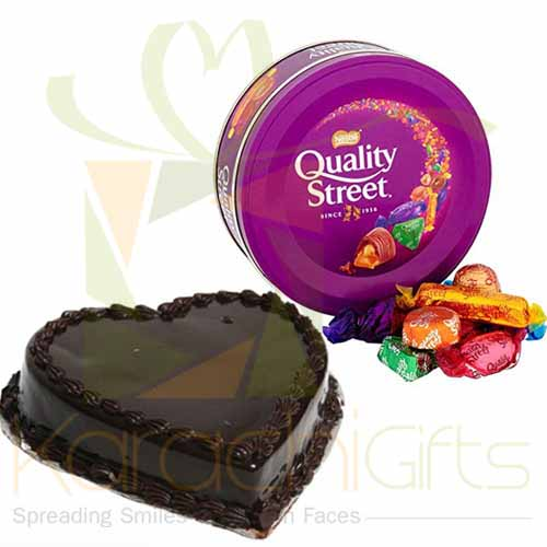 Quality Street With Heart Cake