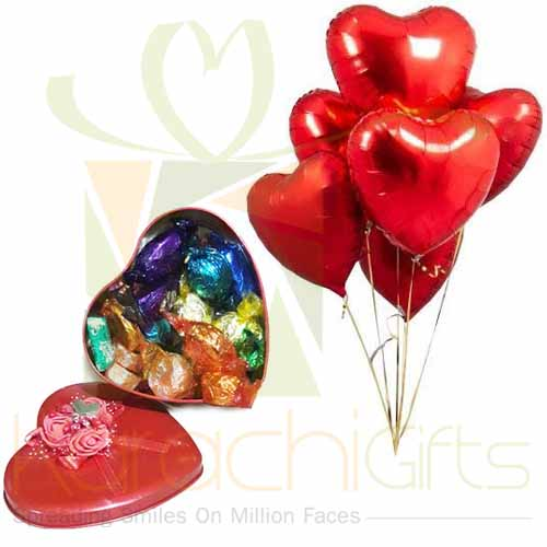 Choc Heart With Balloons