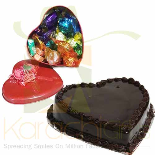 Choc Heart With Heart Cake