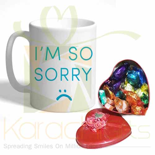 Choc Heart With Sorry Mug