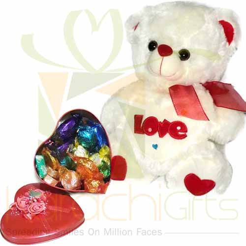 Choc Heart With Teddy Bear
