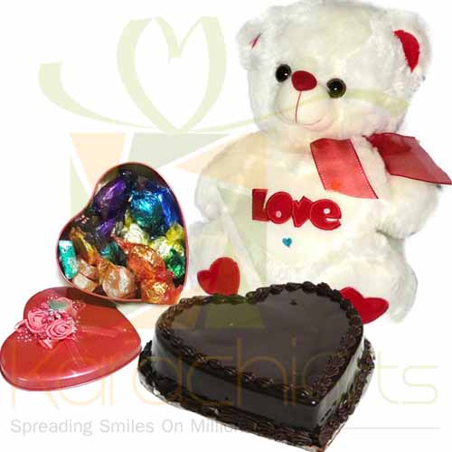 Choc Heart And Heart Cake With Teddy