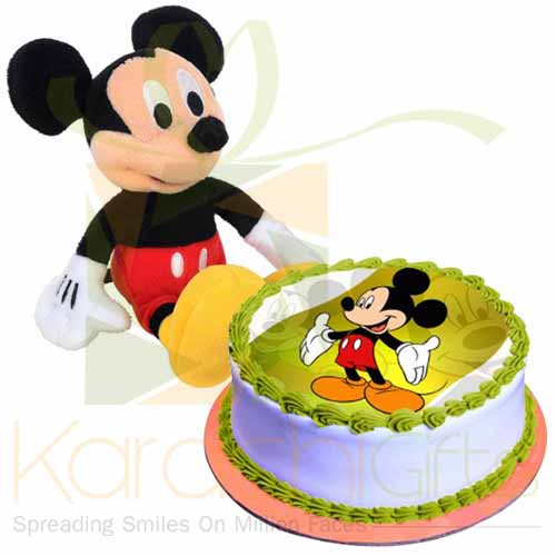 Mickey Toy With Mickey Cake
