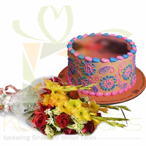 Designer Picture Cake With Flowers