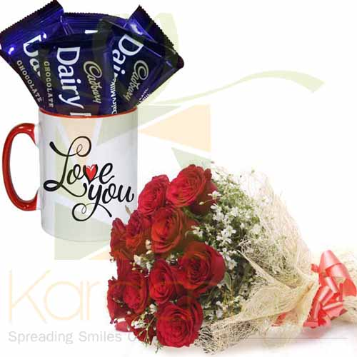 Choc Love Mug With Roses