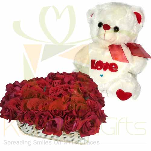 Rose Heart Basket With Teddy
