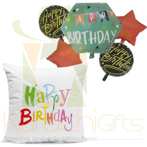 Birthday Balloons With Cushion