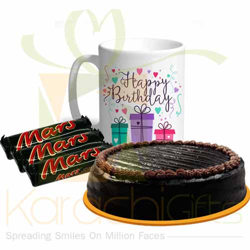 Birthday Mug With Mars And Cake