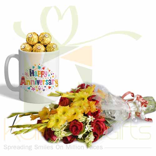 Choc Anni Mug With Flowers
