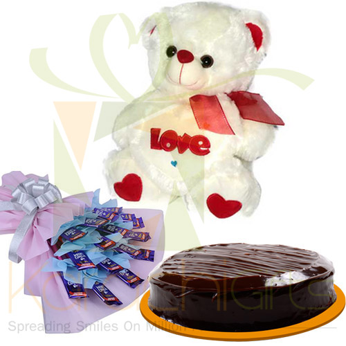 Dairy Milk Bouquet And Teddy With Cake