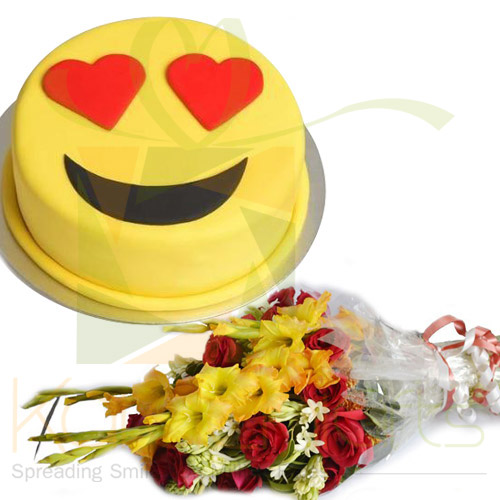 Smiley Cake With Bouquet