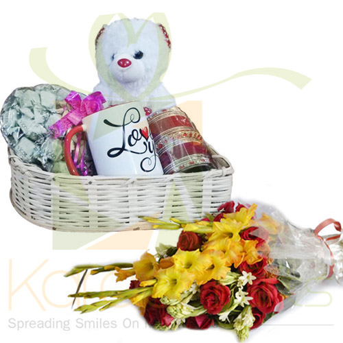 Love Basket With Flowers