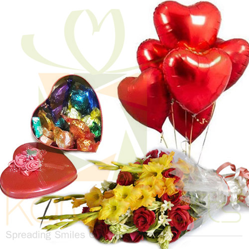 Balloons, Chocolates And Flowers