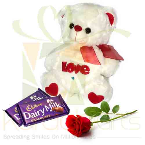 Teddy With Rose And Chocs