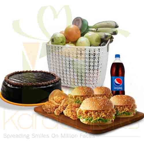 KFC Meal With Cake And Fruits