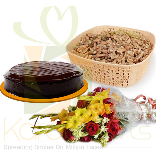 Cake Dry Fruits And Flowers