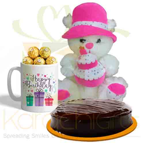 Choco Mug With Bday Bear Cake