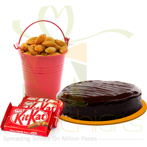 Almond Bucket With Kit Kat And Cake