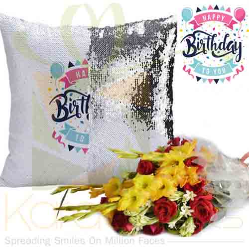 Birthday Magic Cushion With Bouquet