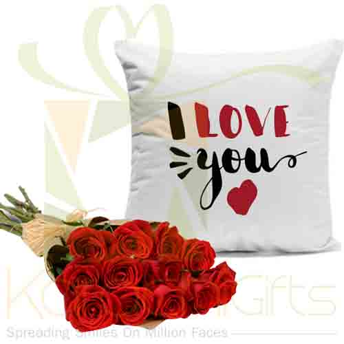 Love Cushion 1 Dozen Roses