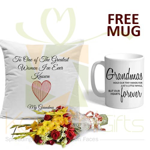 FREE Mug With Cushion n Flowers