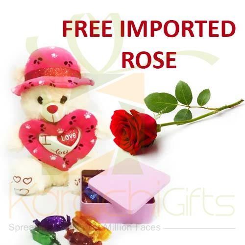 FREE Rose With Teddy n Chocos