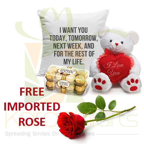 FREE Rose With Teddy, Cushion n Chocs