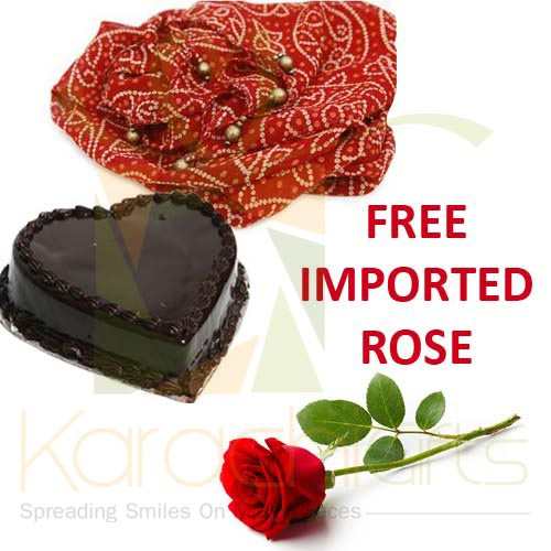 FREE Rose With Cake n Chunri