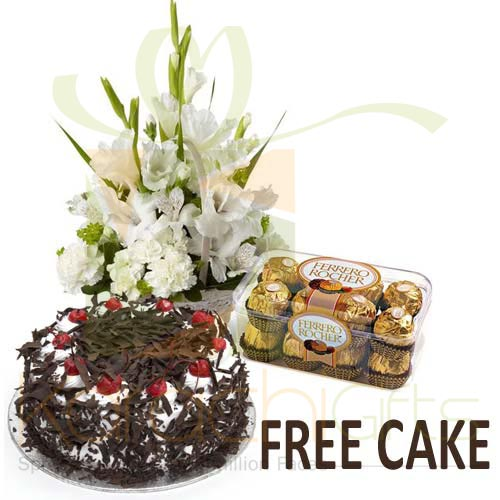 FREE Cake With Chocs n Flowers