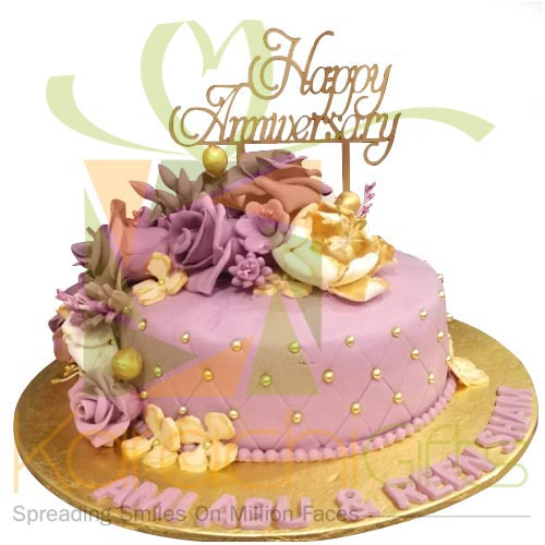 Happy Anni Floral Cake