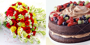 Flowers Bunch &  Cake (2lbs)