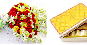 Flowers Bunch & Sweets (Mithai) 2KG