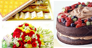 Diamond  Flowers & Mithai (2KG) & Cake ( 2 LBS )