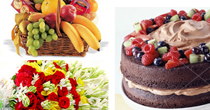 Flowers & Cake & Fruit Basket