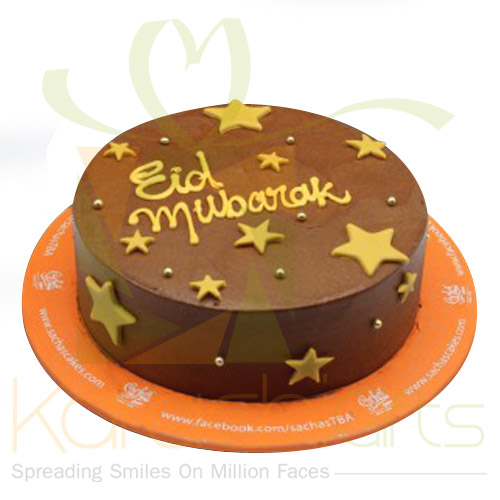 Brown And Golden Star Eid Cake
