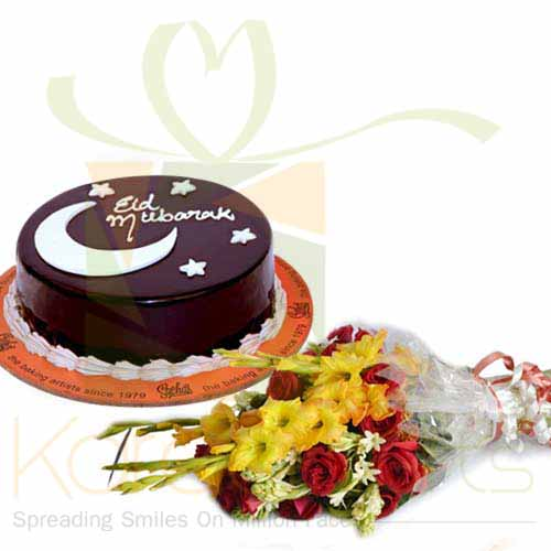 Eid Mubarak Cake With Flowers