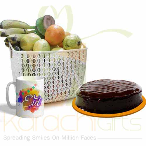 Eid Mug With Cake And Fruits